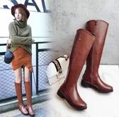 春秋女士長筒靴平跟側拉鏈長靴加絨平底高筒靴棕色皮面女靴子大碼 喵可可