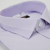 【金‧安德森】紫色變化領細紋窄版短袖襯衫
