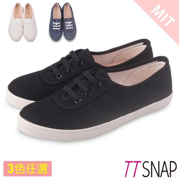 帆布鞋-TTSNAP 微尖頭顯瘦纖細平底鞋 黑/白/藍