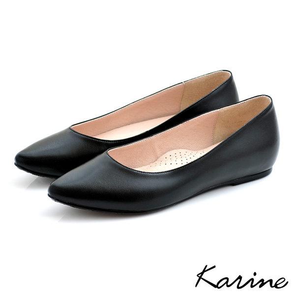 全真皮尖頭內增高楔型鞋-黑色‧MIT台灣製‧karine