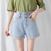 超高腰牛仔短褲女夏季2021新款顯瘦寬鬆外穿闊腿捲邊a字熱褲潮ins【快速出貨】