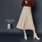 PUFII-裙子 直坑條百摺針織中長裙-1205 現+預 冬【CP17689】