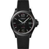 LONGINES浪琴 征服者系列V.H.P.萬年曆碳纖維手錶-黑/43mm L37262669