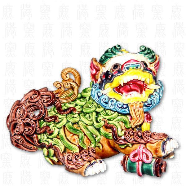 鹿港窯-居家開運商品-台灣國寶交趾陶~七巧獅之一畫