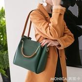 包包女新款女包水桶包潮韓版簡約百搭斜背包手提包單肩包大包 莫妮卡小屋