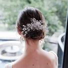 水鑽髮梳-鏤空花朵珍珠水晶頭飾73xr12[時尚巴黎]