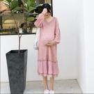 孕婦裝 雪紡荷葉邊V領針織長版孕婦毛衣洋裝