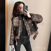 小香風外套女2020年秋冬季新款韓版寬鬆百搭拼接牛仔格子短款上衣