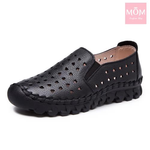 全真皮愛心洞洞超厚軟底手工頭層牛皮舒適樂福鞋 黑 *MOM*