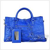 BALENCIAGA巴黎世家CITY印花黃字LOGO小羊皮銀釦手提斜背機車包(藍)