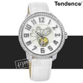 Tendence 天勢表 / TY492003 / 機械錶 自動上鍊 珍珠母貝 蝴蝶飛揚 防水100米 真皮手錶 白色 48mm
