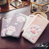 手機殼 絨毛貓咪腳印iPhone6/plus手機殼-Ruby s 露比午茶