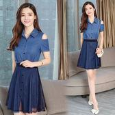 VK精品服飾 韓國風名媛氣質牛仔網紗裙收腰露肩套裝短袖裙裝