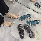 涼鞋 珍珠涼鞋女2019夏季新款學生平底套趾仙女風蛇形纏繞軟妹沙灘涼鞋