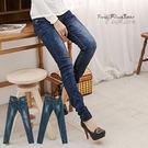 牛仔褲--長腿曲線貓抓痕刷色口袋橘紅弧型...