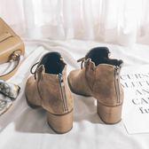 粗跟靴 絨面蝴蝶結女短靴粗跟繫帶復古馬丁靴女中跟拉鍊裸靴冬季高跟女靴 唯伊時尚