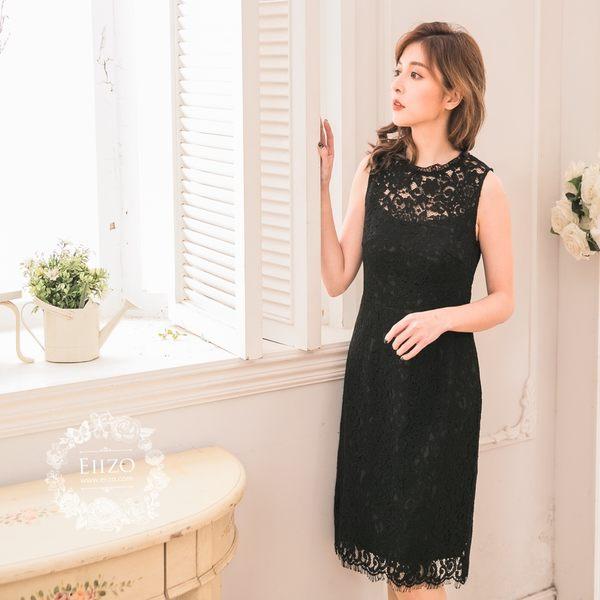 【EIIZO】法式蕾絲收腰無袖洋裝(黑)