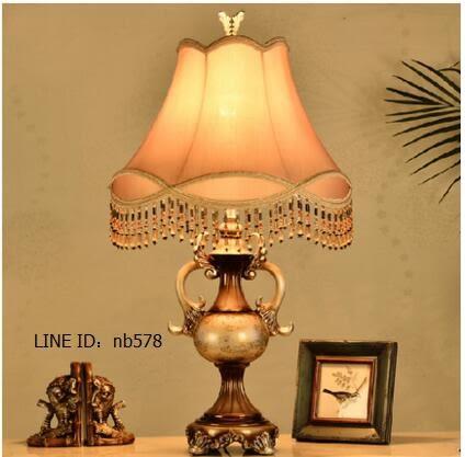 歐式檯燈創意田園客廳臥室床頭書房檯燈飾具(如圖色)