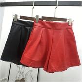 皮褲 皮褲短褲女夏季新款韓版PU皮褲女高腰顯瘦闊腿褲67232