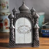 歐式創意6寸相框擺臺婚紗照影樓相架六寸金屬城堡照片框生日禮物
