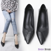 高跟鞋 一鞋兩穿單鞋女2020春新款韓版百搭軟皮不磨腳低跟3cm細跟高跟鞋
