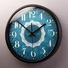 藍色花紋石英鐘靜音鐘表深藍夢幻創意掛鐘 巴黎時尚