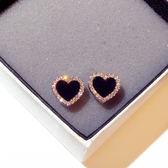耳環 韓國925銀針愛心耳環超閃水鉆心形百搭耳釘耳飾