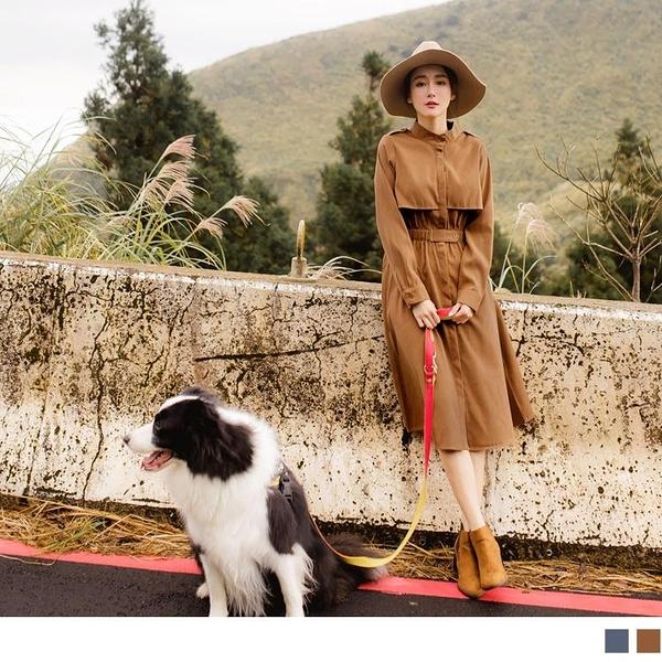 《DA7201-》純色小立領腰鬆緊風衣型洋裝 OB嚴選