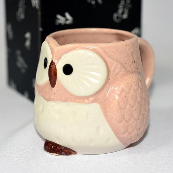 貓頭鷹 陶瓷馬克杯 日本製造 桃色