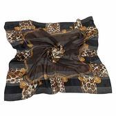 Christian Dior 時尚豹紋項鍊框邊緞面領帕巾(黑) 179009-1