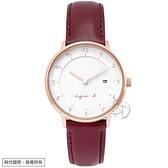 【台南 時代鐘錶 Agnes b.】B4A002J1 手寫風 日期顯示 皮革錶帶女錶 33mm 白/酒紅 玫瑰金 VJ12-KY40K