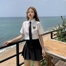 港風短袖襯衫女2019新款寬鬆復古學生領帶徽章白襯衣學院風夏ins 陽光好物