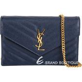 YSL Saint Laurent MONOGRAM 小型絎縫荔紋牛皮鍊帶信封包(深藍) 1620747-34
