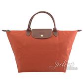 茱麗葉精品【全新現貨】 Longchamp Le Pliage 折疊短肩帶手提包.深橘 M #1623