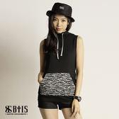 【BTIS】連帽口袋豹紋 無袖上衣  / 黑色