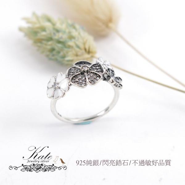 經典款綻放花朵琺瑯鑲鑽純銀戒指 銀飾 小花朵 爪鑲細鑽 925純銀寶石戒指 #10.5 KATE銀飾