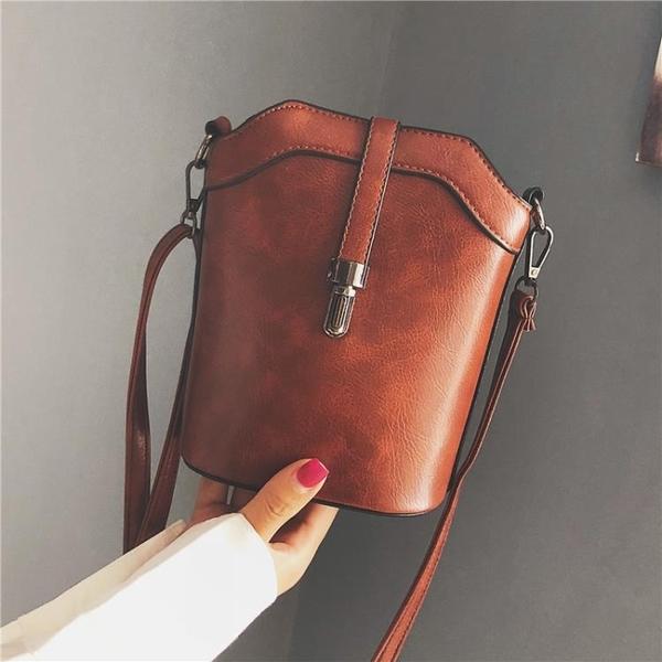 水桶包 2021夏季新款潮時尚簡約水桶小包包女包手機包韓版百搭單肩斜背包 晶彩 99免運