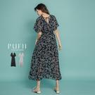現貨◆PUFII-洋裝 氣質V領印花綁帶連身長洋裝- 0703 夏【CP18782】