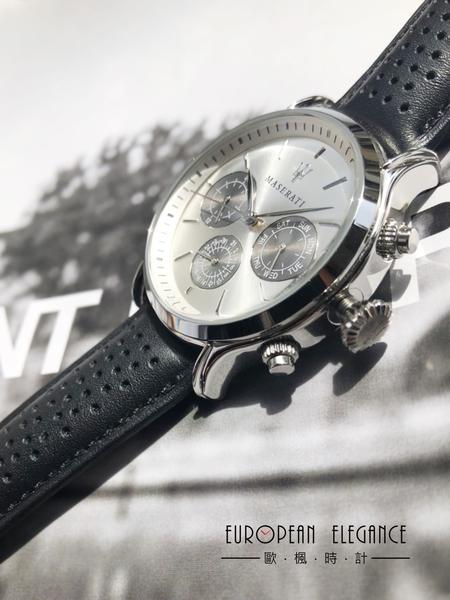 【Maserati 瑪莎拉蒂】/三眼皮帶錶(男錶 女錶 手錶 Watch)/R8851118009/台灣總代理原廠公司貨兩年保固