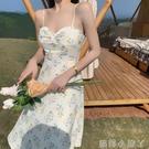 洋氣桔梗蝴蝶結高腰碎花中長裙子田園吊帶洋裝初戀a字裙仙女夏 蘿莉新品
