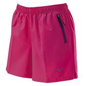 MIZUNO 女裝 短褲 慢跑 訓練 休閒 微彈性 褲口反光 左側拉鍊 桃【運動世界】J2TB8A2166