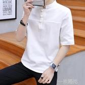 年夏季男士五分袖短袖純棉麻T恤中國風復古盤扣亞麻中袖 雙十一全館免運