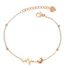 《 QBOX 》FASHION 飾品【B20N1103】 精緻秀氣質愛心的心電圖玫瑰金鈦鋼手鍊/手環