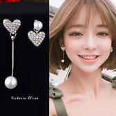 925純銀針  韓國優雅氣質 彩色愛心不對稱珍珠 耳環-維多利亞181105
