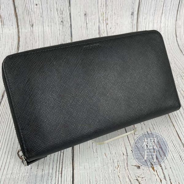 BRAND楓月 PRADA 普拉達 2ML188黑拉鍊長夾 素面 防刮皮 錢夾 錢包 皮夾 皮包