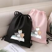 束口包卡通可愛貓咪束口袋抽拉繩後背包簡易戶外旅行抽帶背包收納運動包 迷你屋