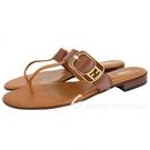 FENDI FF金屬釦牛皮夾腳涼鞋/拖鞋(棕色) 1940511-B3