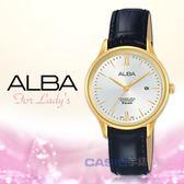 ALBA 雅柏 手錶專賣店   AH7N98X1 石英女錶 皮革錶帶 銀白 防水50米 日期顯示 全新品 保固一年