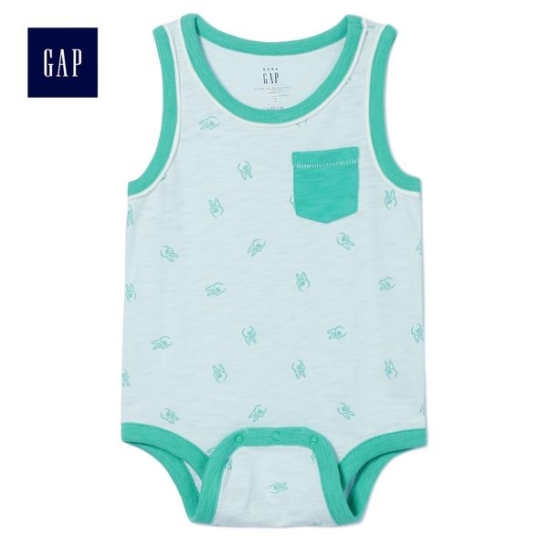 Gap男嬰兒 柔軟印花無袖三角式包屁衣 464667-太平洋霧色