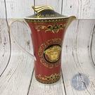 BRAND楓月 VERSACE 凡賽斯 紅色 巴洛克 雕花 金提把 茶壺 瓷壺